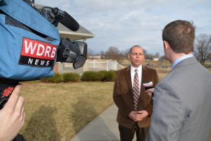 WDRB television filming an interview